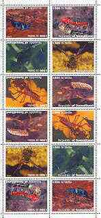 Somaliland 1999 Insects perf sheetlet of 12 values containing 2 sets of 6 arranged tete-beche unmounted mint