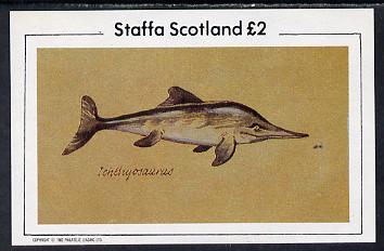Staffa 1982 Prehistoric Marine Life (Ichthyosaurus) imperf deluxe sheet (�2 value) unmounted mint, stamps on animals, stamps on dinosaurs, stamps on dolphins, stamps on reptiles, stamps on marine life, stamps on