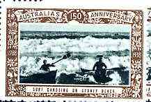 Australia 1938 Surf Canoeing, Poster Stamp from Australia's 150th Anniversary set, unmounted mint