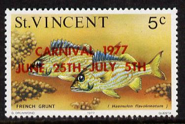St Vincent 1977 Fish 5c with red Carnival overprint error (SG 531a)