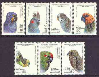 Madagascar 1993 Parrot Family perf set of 7 unmounted mint SG 955-61*