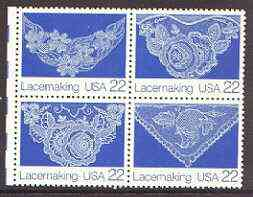 United States 1987 American Folk Art - Lacemaking se-tenant block of 4 unmounted mint, SG 2312a