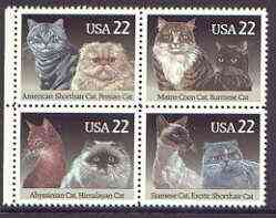 United States 1988 Cats se-tenant block of 4 unmounted mint, SG 2337a