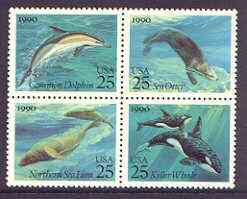 United States 1990 Marine Mammals se-tenant block of 4 unmounted mint, SG 2545a