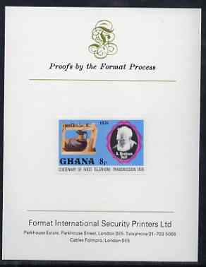 Ghana 1976 Gallows Frame & Graham Bell 8p (from Telephone Centenary set) imperf proof mounted on Format International proof card, as SG 791