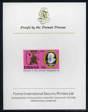 Ghana 1976 Telephone of 1895 & Graham Bell 30p (from Telephone Centenary set) imperf proof mounted on Format International proof card, as SG 792
