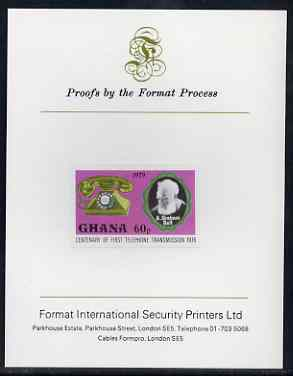 Ghana 1976 Telephone of 1929 & Graham Bell 60p (from Telephone Centenary set) imperf proof mounted on Format International proof card, as SG 793