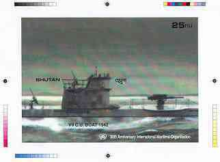 Bhutan 1989 International Maritime Organisation - Intermediate stage computer-generated essay #4 (as submitted for approval) for 25nu m/sheet (U boat submarine) 185 x 130...