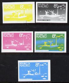 Nauru 1973 Catching Flying Fish 8c definitive (SG 105) set of 5 unmounted mint IMPERF progressive proofs on gummed paper (blue, magenta, yelow, black and blue & yellow)