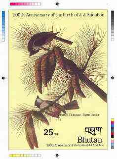 Bhutan 1985 John Audubon Bicentenary - Intermediate stage computer-generated essay #1 (as submitted for approval) for 25nu m/sheet (Tufted Titmouse) 140 x 200 mm very sim...
