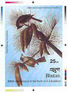 Bhutan 1985 John Audubon Bicentenary - Intermediate stage computer-generated essay #2 (as submitted for approval) for 25nu m/sheet (Tufted Titmouse) 140 x 200 mm very sim...
