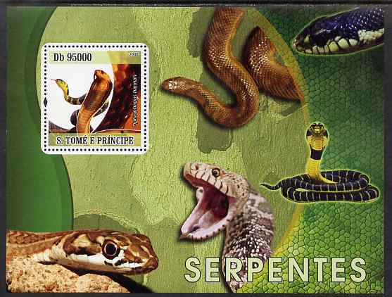 St Thomas & Prince Islands 2009 Snakes perf s/sheet unmounted mint