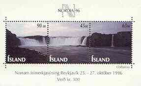Iceland 1996 Nordia '96 m/sheet containing se-tenant strip of 3 Waterfalls, unmounted mint