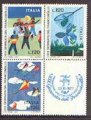 Italy 1977 Stamp Day se-tenant block (3 stamps plus label) unmounted mint SG 1532-34