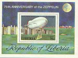 Liberia 1978 Zeppelin Anniversary perf m/sheet (Goodyear Airship) unmounted mint SG MS 1340