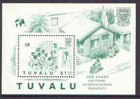 Tuvalu 1988 Red Cross perf m/sheet with red omitted, SG MS 522