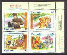 Booklet - Canada 1996 Winnie the Pooh se-tenant block of 4 SG 1701-04 (Double sheetlet of 16 used as cover for Winnie the Pooh booklet available, price x 4)