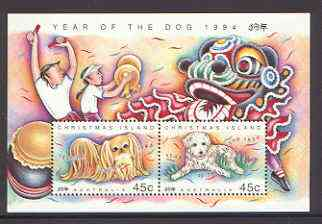 Christmas Island 1994 Chinese New Year - Year of the Dog m/sheet unmounted mint SG MS 388