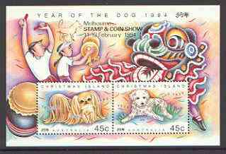 Christmas Island 1994 Chinese New Year - Year of the Dog m/sheet unmounted mint SG MS 388 opt'd for Melbourne Stamp & Coin Show
