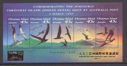 Christmas Island 1993 Seabirds m/sheet unmounted mint SG MS 377 opt