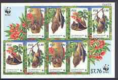 Fiji 1997 WWF - Monkey-faced Bat m/sheet containing 2 sets of 4 unmounted mint, SG MS 990