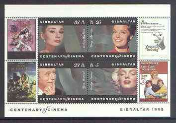 Gibraltar 1995 Centenary of the Cinema m/sheet #1 (Marilyn, R Schneider, Y Montand & A Hepburn) unmounted mint SG MS 756a