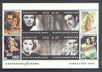 Gibraltar 1995 Centenary of the Cinema m/sheet #2 (I Bergman, V de Sica, M Dietrich & L Olivier) unmounted mint SG MS 756b