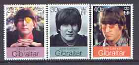 Gibraltar 1999 30th Wedding of John Lennon & Yoko Ono set of 3 unmounted mint, SG 877-79