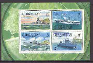 Gibraltar 1993 Warships of Second World War #1 perf m/sheet containing set of 4 unmounted mint, SG MS 694