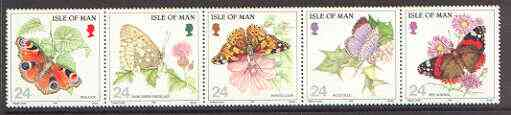 Isle of Man 1994 Butterflies se-tenant strip of 5 unmounted mint, SG 573a