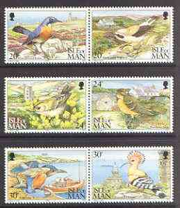 Isle of Man 1994 Calf of Man Bird Observatory set of 6 (3 se-tenant pairs) unmounted mint SG 583-88