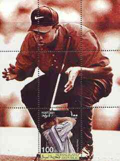 Somaliland 2001 Tiger Woods (& Greg Norman) perf m/sheet #01 (100s value) unmounted mint