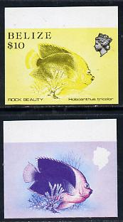 Belize 1984-88 Rock Beauty $10 def imperf progressive marginal proofs in red & blue and yellow & black, 2 proofs unmounted mint as SG 781