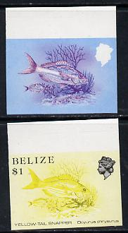 Belize 1984-88 Snapper fish $1 def imperf progressive marginal proofs in red & blue and yellow & black, 2 proofs unmounted mint as SG 778