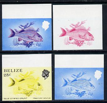 Belize 1984-88 Blue-striped Grunt 25c def imperf progressive proofs in blue, red, red & blue and yellow & black, 4 proofs unmounted mint as SG 774