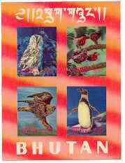 Bhutan 1969 Birds #1 m/sheet containing 4 values in 3-dimensional format unmounted mint, Mi BL 29