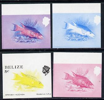Belize 1984-88 Hogfish 5c def imperf progressive marginal proofs in blue, red, red & blue and yellow & black, 4 proofs unmounted mint as SG 770