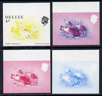 Belize 1984-88 Fairy Basslet 4c def imperf progressive marginal proofs in blue, red, red & blue and yellow & black, 4 proofs unmounted mint as SG 769