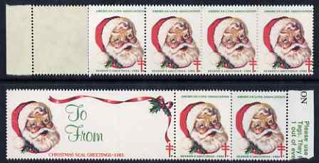 Cinderella - United States 1983 Christmas Lung Association Seals se-tenant strip of 7 (1 large & 6 small labels) unmounted mint