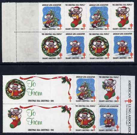 Cinderella - United States 1986 Christmas Lung Association Seals se-tenant strip of 14 (2 large & 12 small labels)