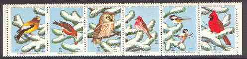 Cinderella - United States 1975 Christmas Seals from the National Wildlife Federation se-tenant strip of 6 (Birds)