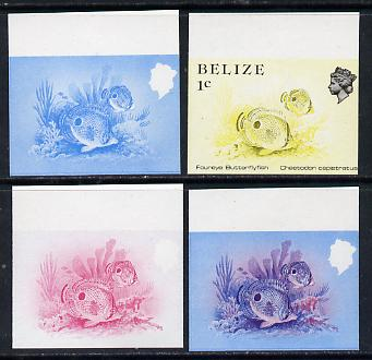 Belize 1984-88 Butterflyfish 1c def imperf progressive marginal proofs in blue, red, red & blue and yellow & black, 4 proofs unmounted mint, as SG 766