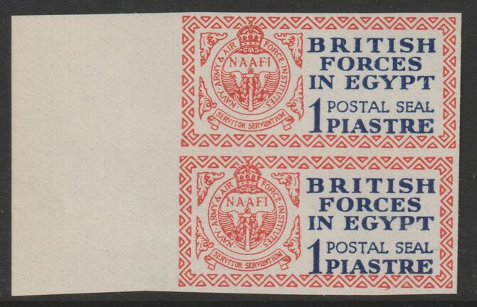 Egypt 1932 British Forces 1p Postal Seal marginal imperf pair, superb unmounted mint, SG A1 (normal pair cat \A3190)