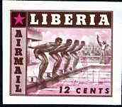 Liberia 1955 Swimming 12c imperf proof of brown only (as SG 760) superimposed with magenta printing of 10c Baseball stamp (SG 759) on ungummed paper