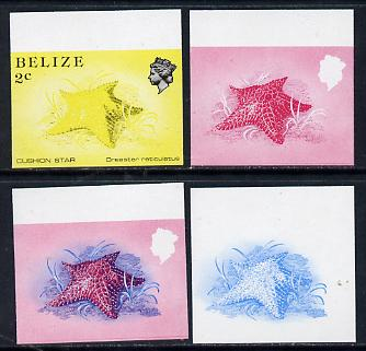 Belize 1984-88 Cushion Star 2c def imperf progressive marginal proofs in blue, red, red & blue and yellow & black, 4 proofs unmounted mint as SG 767