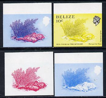Belize 1984-88 Sea Fans & Fire Sponge 10c def imperf progressive marginal proofs in blue, red, red & blue and yellow & black, 4 proofs unmounted mintas SG 772