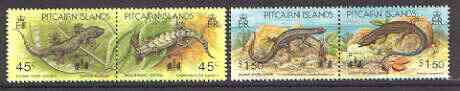 Pitcairn Islands 1994 'Hong Kong 94' opt on Lizards set of 4 (2 se-tenant pairs) unmounted mint SG 442-45