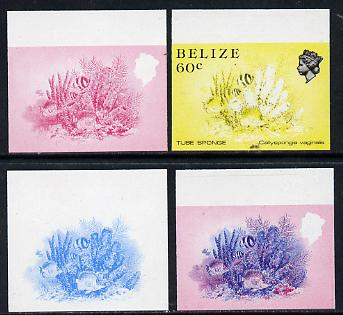 Belize 1984-88 Tube Sponge 60c def imperf progressive marginal proofs in blue, red, red & blue and yellow & black, 4 proofs unmounted mint as SG 776