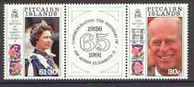 Pitcairn Islands 1991 Royal Birthdays se-tenant set of 2 plus label unmounted mint SG 399a