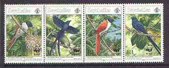 Seychelles 1996 WWF - Paradise Flycatcher strip of 4 unmounted mint, SG 856a
